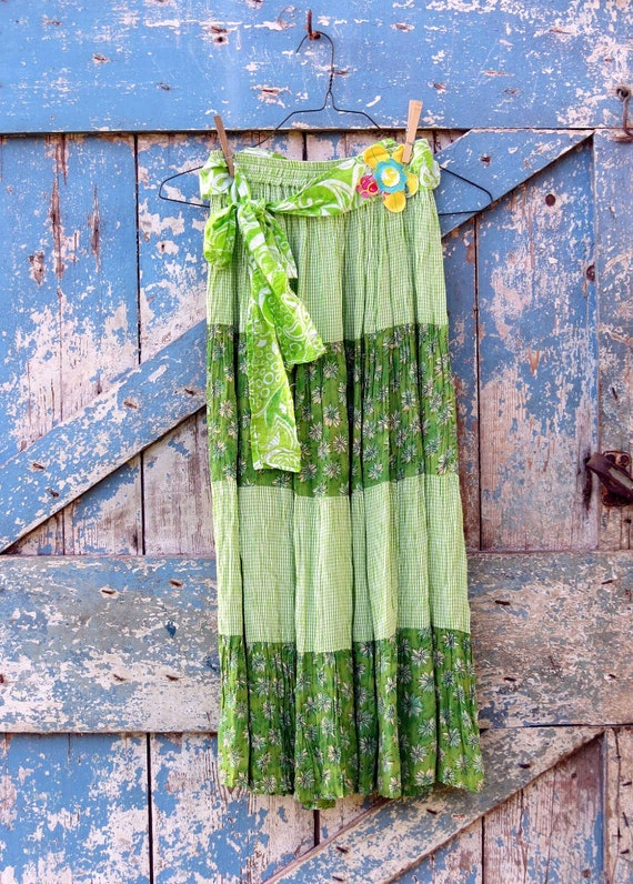 Happy Hippie Green Maxi Skirt/ upcycled floral tiered skirt/boho chic maxi skirt VACATION JUNE 14-24-see below