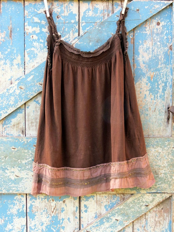 Gypsy Moth Brown Boho Tank/ upcycled hippie chic tank top/ eco friendly brown shirt