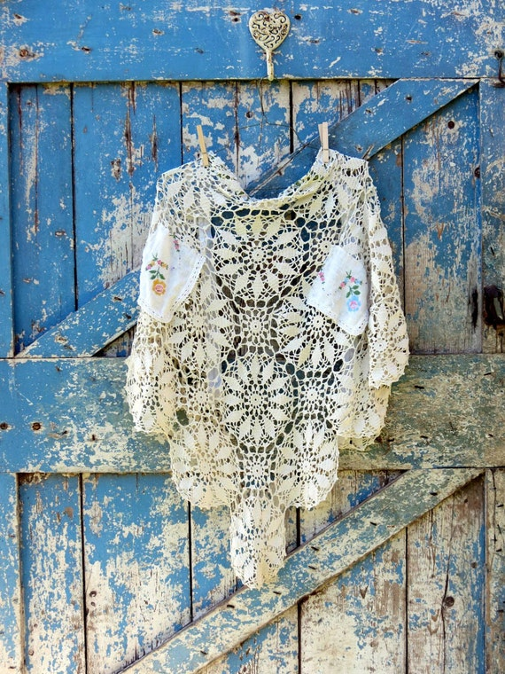 RESERVED It's a Wrap, Darling & It's a Darling Wrap/upcycled lace and linen wrap/shabby chic shawl/vintage wrap