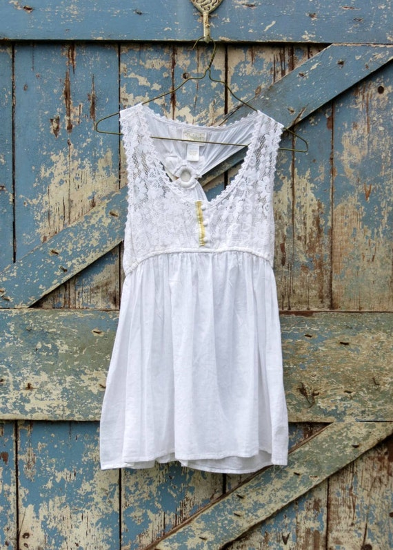 Yellow & White Delight Summer Top/ upcycled white fancy tank/ eco friendly summer shirt