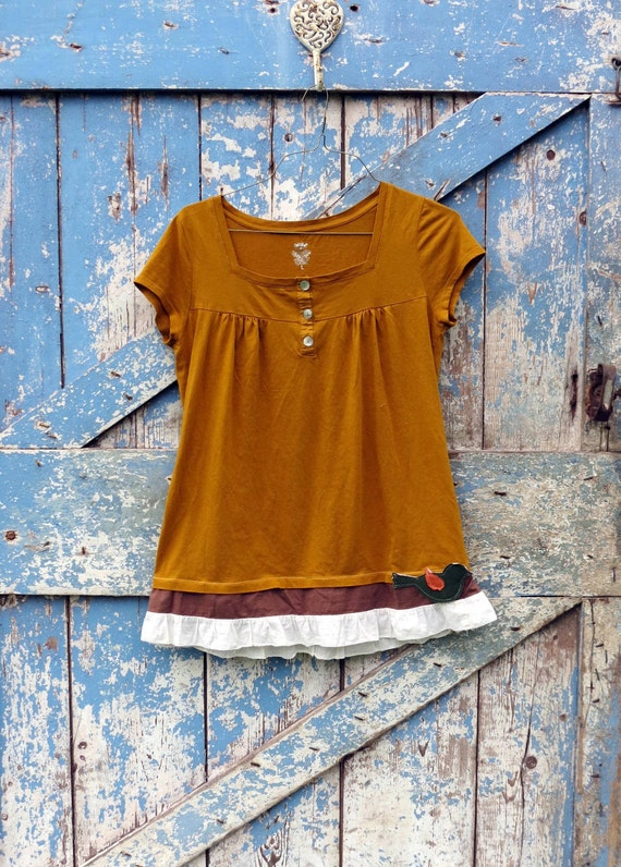 Sweet Tweet Top/ upcycled t shirt with ruffle/ romantic bird tunic