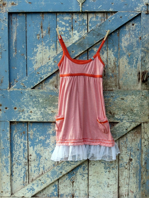 Cute As a Button Sundress/upcycled boho summer dress/eco friendly tulle sundress