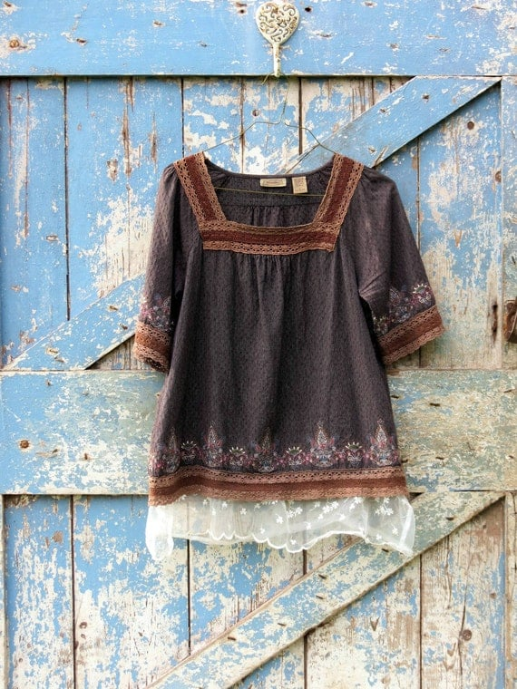 Graced with Lace Brown Bohemian Top/ upcycled boho chic shirt/ eco friendly hippie tunic