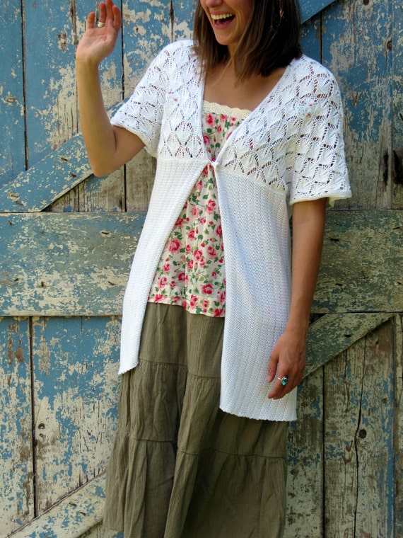 Stop and Smell the Roses Wrap/ upcycled white summer cardigan/ eco friendly sweater jacket