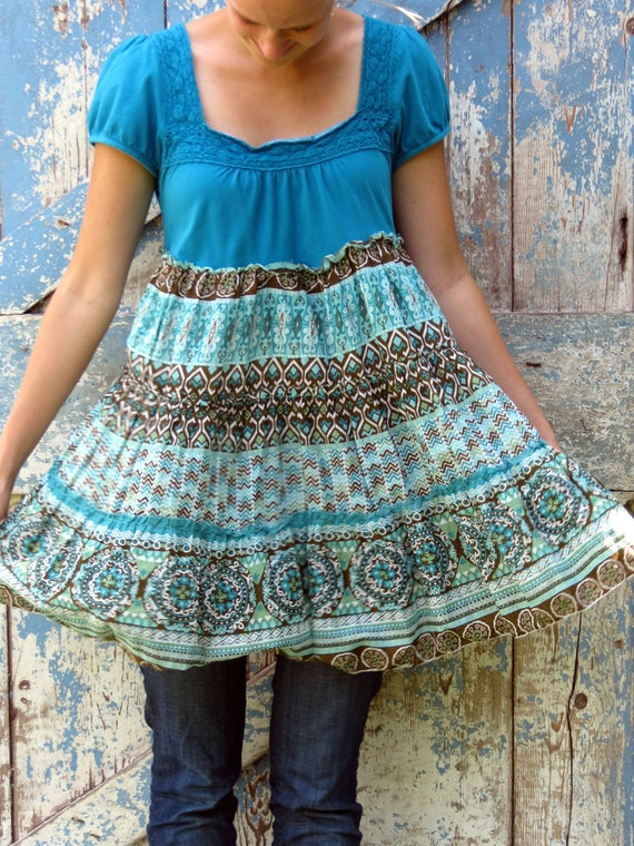 So Blue without You, Babydoll Top/ upcycled boho chic shirt/ eco friendly hippie top