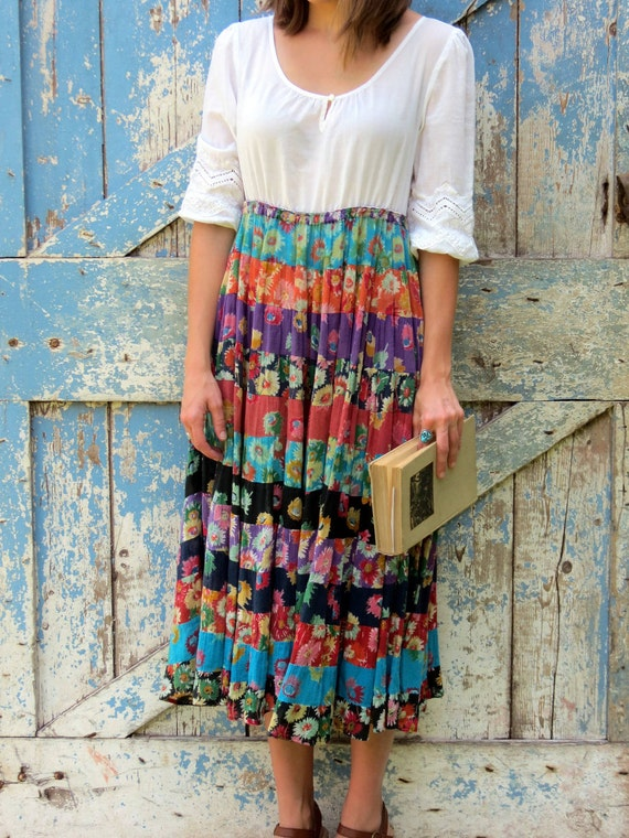Happy Hippie Peasant Dress/ upcycled babydoll gypsy dress/ eco friendly empire waist boho dress