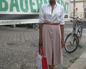 Farmers Market Chic beige and white polka dot skirt