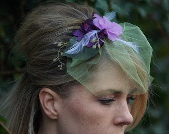 Bridal Comb, Woodland, Rustic, Purple Fascinator, Feather, Veil
