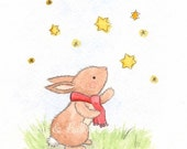 Rabbit Nursery art ORIGINAL watercolour 5 x 7.....Make a wish Stars Night time Cute Sweet Boy Girl Nursery Art