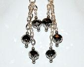 Grey and Silver Dangle Earrings