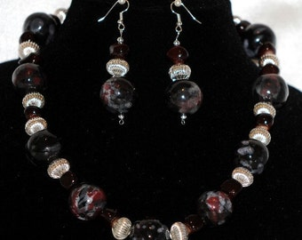Multi Black and Silver Necklace Set