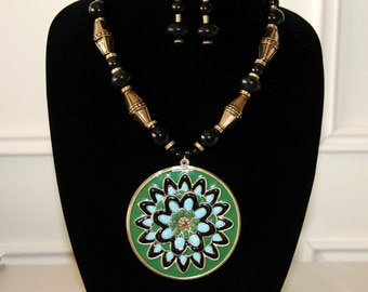 Green and Purple Flip Necklace Set