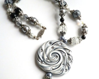 NOW 50% OFF!! Magical Swirl Black and White polymer Clay Lollipop Necklace WAS 25.00