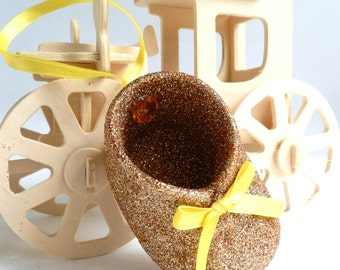 Yellow Topaz November Baby Shoe Ornament Keepsake