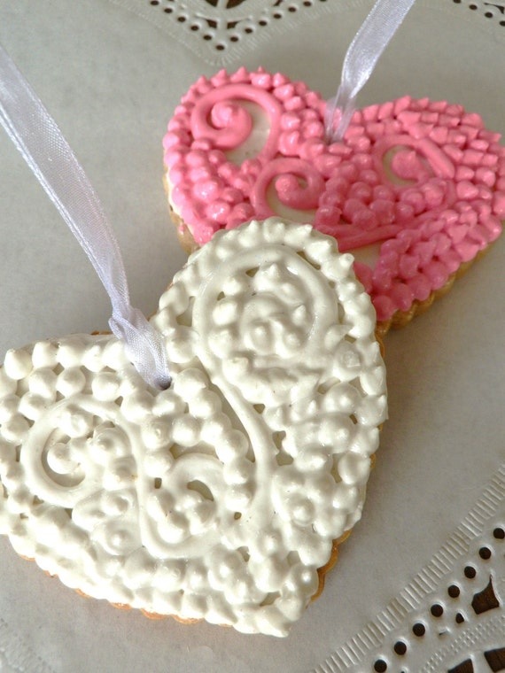 Pink and White Victorian Filigree Heart Fake Cookie Christmas Ornaments