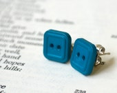 Button Earrings - Teal Squared - Ready to Ship