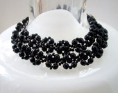 Vintage Jewelry Necklace Bracelet Black glass beads Mom