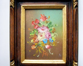 Vintage Picture painted by hand Wooden picture frame gold Spring