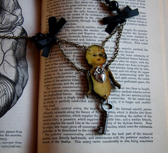 Doll and key ribbon tie wunderkammer necklace