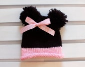 Hand Knit Minnie Mouse Baby Hat - Double Pom Pom Hat - Photo Prop - Ready to Ship 0-3months