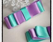 Aqua and purple hair clip set.