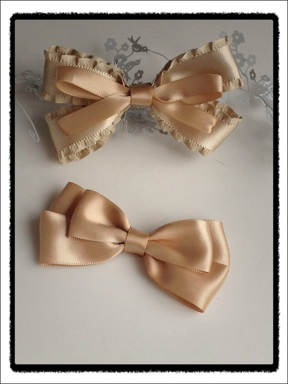Champagne / Gold double satin bows - set of 2