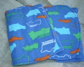 CLEARANCE - Two (2) Flannel Burp Cloths - Blue, Green, Orange Cars/Trucks - Transportation - Contoured - Set of 2 - Baby Boy Shower Gift