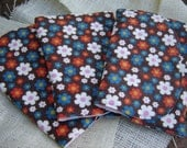 CLEARANCE - Three (3) Flannel Burp Cloths - Brown With White, Red, Blue, and Pink Daisy Flowers - Contoured - Baby Girl Shower Gift