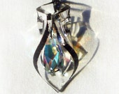 SALE: Sculptural Swarovski Crystal Clear Geometric Pendant
