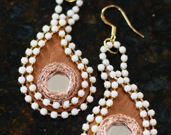 SALE: Mirror, Leather, Rhinestone Indian Henna Inspired Paisley Earrings