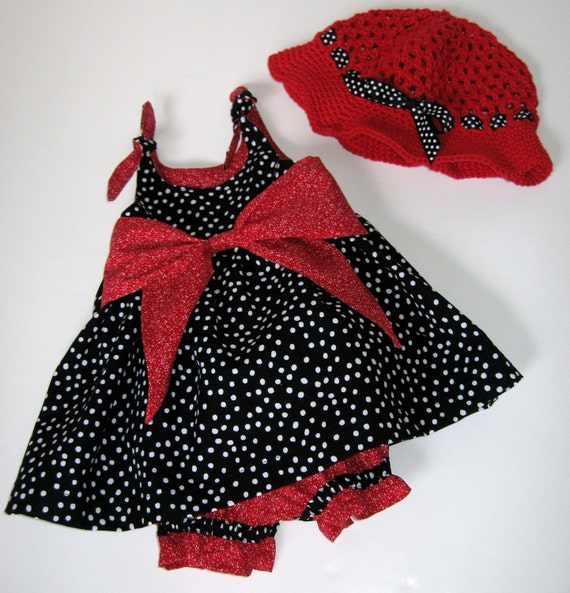 Baby Girl Toddler Sun Dress with Pantaloons Bloomers Sun Hat Cap Size 12 to 18 Months Ready to Ship