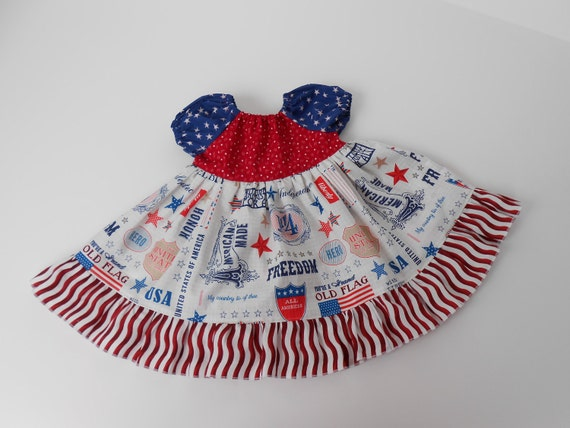 Peasant Twirl Dress Red White BlueSize 12-18 Months Riley Blake Fabric Ready to Ship