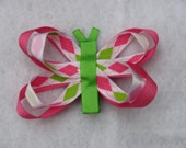 Butterfly Clip - White, Apple Green and Hot Pink