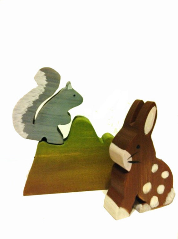 Forest friends wood Bunny and Squirrel eco friendly Natural style toy perfect for an Eco Easter Basket