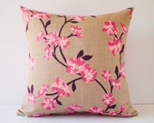 Sakura cherry blossom decorative accent pillow cover / pillow case / cushion cover - 18 x 18 inches