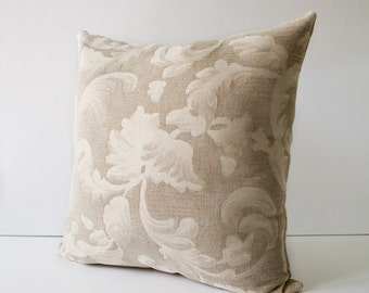 Decorative Pillow, Throw Pillow Cover, Accent Pillow - 18 x 18 Inches Beige floral
