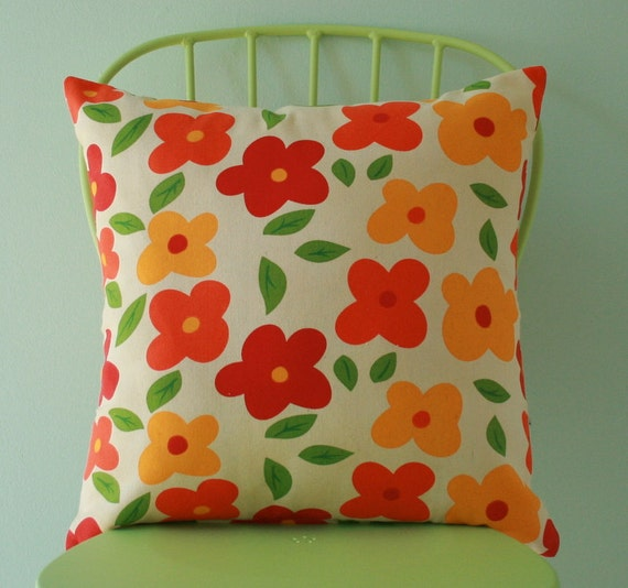 Summer pillow, decorative throw pillow cover, floral pillow, accent pillow cover, pillow case pillow cover - 18 x 18 inches