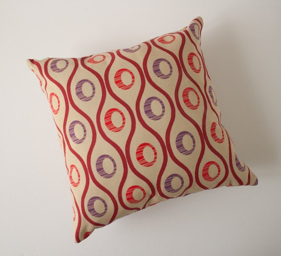 Accent pillow, decorative pillow, throw pillow cover, cushion cover - Bordeaux waves red and purple circles on beige 18 x 18 inches