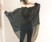 Women Oversize Black Blouse, Buttened  Shirt