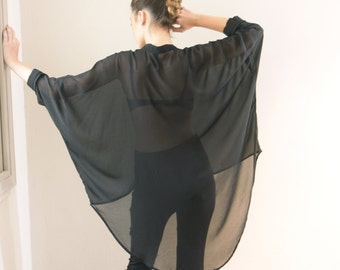 Women Oversize Black Blouse- Buttoned black Shirt- sheer black sexy shirt- black sheer blouse