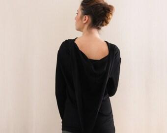 Boat neck Black women's top, Long Sleeve top, Winter Blouse