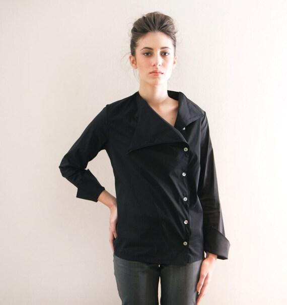Button Shirt, Black Women Blouse, Long Sleeve Top.