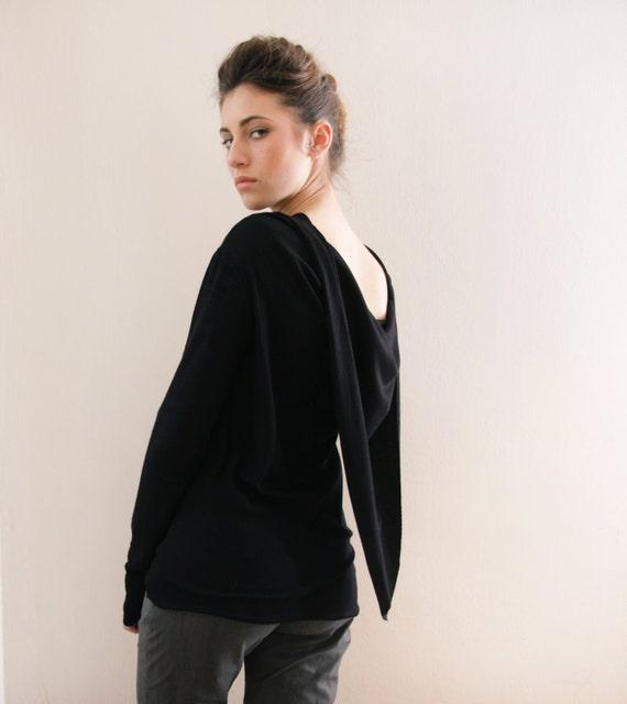 Boat neck Black women's top- Long Sleeve top- boat neck shirt- scarf shirt- Hellenic blouse- white shirt - grey shirt