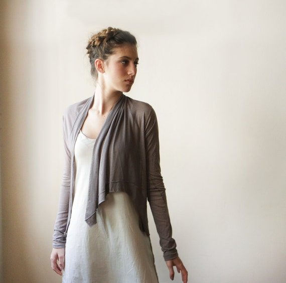 Smoky Brown Long Sleeve Cardigan, Women Top