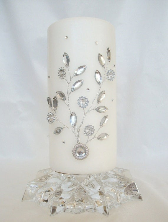 Items Similar To Decorative White Pillar Candle