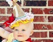 HAPPY BIRTHDAY Party Hat made of burlap and fabric.