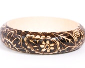 "Wooden Bracelet ""Indian Night"" (Wood Burnt / Pyrography)"