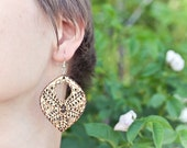 "Wooden Earrings ""Maltese Lace"" - (Woodburning / Pyrography) - READY to SHIP"