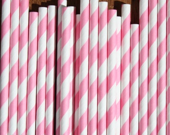 50 Pink Stripe Straws, Wedding Straws, Stripe Straws with DIY Flag file