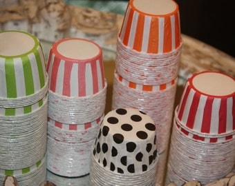 50 Red and White Polka Dot and 25 Navy Polka Dot Candy Cups, Cupcake Liners, Nut Cups